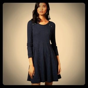 Cute Anthropologie Eloise Navy Fit & Flare Dress